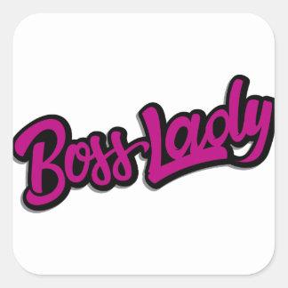 Pegatina Cuadrada Señora de Boss