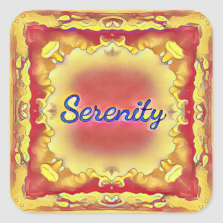 Pegatina Cuadrada Serenidad enmarcada inspirada amarilla color de