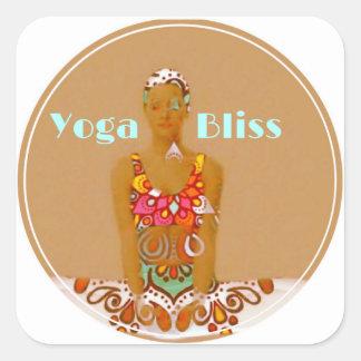 Pegatina Cuadrada Serie de la dicha de la yoga
