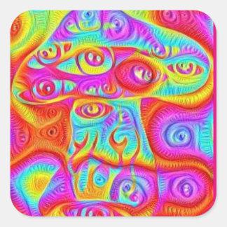 Pegatina Cuadrada seta psicodélica colorida trippy