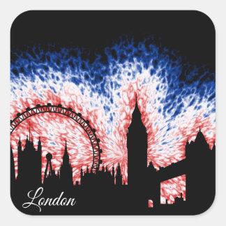 Pegatina Cuadrada Silueta de Londres Inglaterra