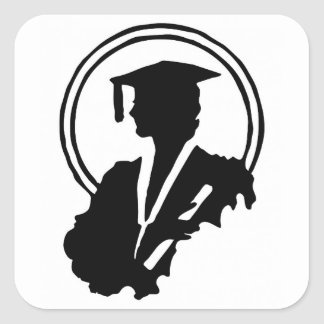 Pegatina Cuadrada Silueta graduada de la hembra