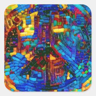 Pegatina Cuadrada Símbolo de paz colorido del mosaico
