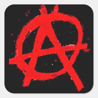 Pegatina Cuadrada Símbolo rojo sucio de la anarquía