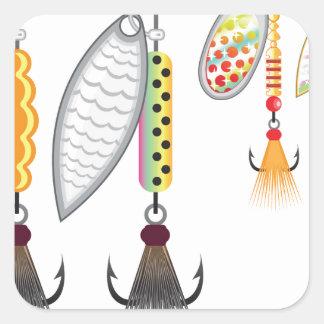 Pegatina Cuadrada Sistema de hilanderos que pescan el ejemplo del
