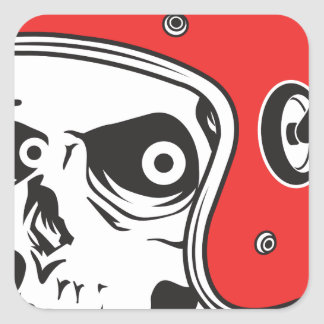 Pegatina Cuadrada ☞ Skullracer motorcycle helmet
