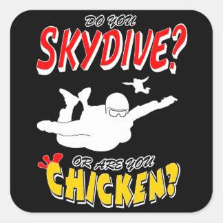 Pegatina Cuadrada ¿Skydive o pollo? (blanco)