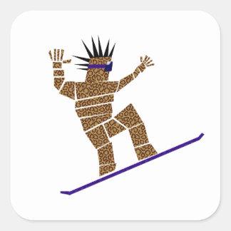 Pegatina Cuadrada Snowboarder