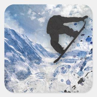 Pegatina Cuadrada Snowboarder en vuelo