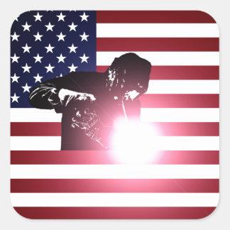 Pegatina Cuadrada Soldador y bandera americana