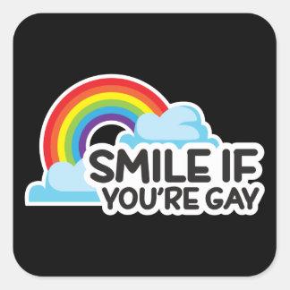 Pegatina Cuadrada Sonría si usted es orgullo gay del arco iris LGBT