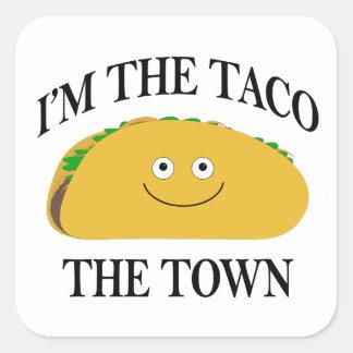 Pegatina Cuadrada Soy el Taco la ciudad