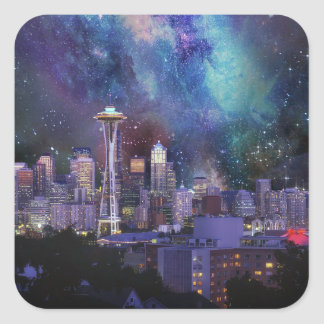 Pegatina Cuadrada Spacey Seattle