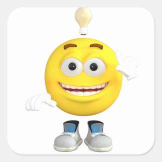 Pegatina Cuadrada Sr. Brainy que el Emoji ese ama pensar