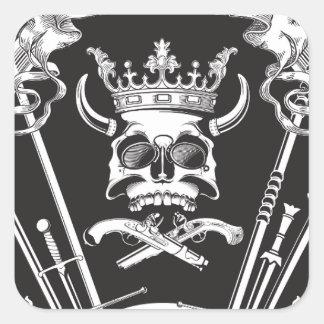 Pegatina Cuadrada Sr. Skull