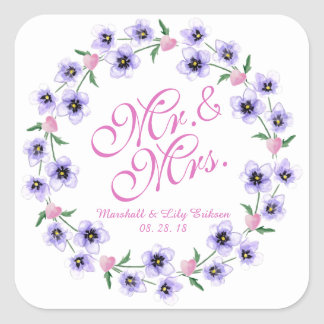 Pegatina Cuadrada Sr. y señora Watercolor Floral Wedding Sticker