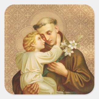 Pegatina Cuadrada St Anthony del bebé Jesús de Padua