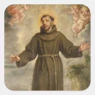 Pegatina Cuadrada St Francis del santo patrón de Assisi de animales