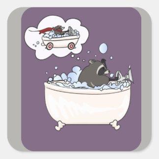 Pegatina Cuadrada Sueño del baño de burbujas