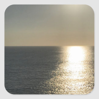 Pegatina Cuadrada Sun en el agua