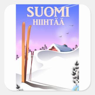 Pegatina Cuadrada Suomi Hiihtää (Finlandia a esquiar)