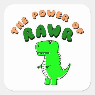 Pegatina Cuadrada T-Rex el poder de RAWR