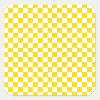Pegatina Cuadrada Tablero de damas amarillo
