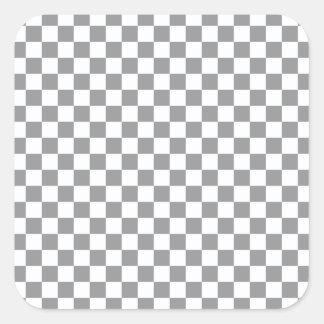 Pegatina Cuadrada Tablero de damas gris