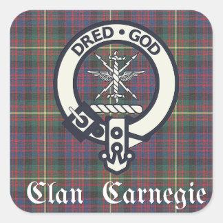 Pegatina Cuadrada Tartán del escudo de Carnegie del clan