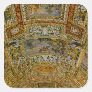 Pegatina Cuadrada Techo en el museo de Vatican en Roma Italia