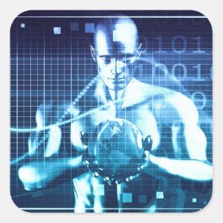 Pegatina Cuadrada Tecnologías integradas en un concepto llano global
