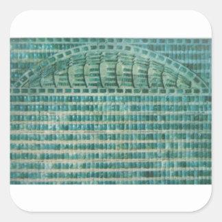 Pegatina Cuadrada tejas azules del trullo