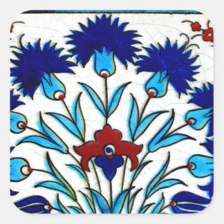 Pegatina Cuadrada Tejas turcas abstractas florales antiguas del