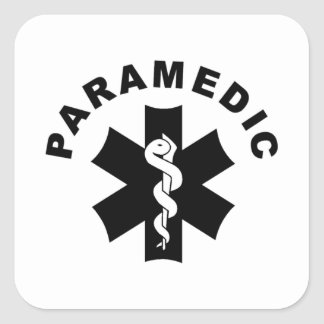 Pegatina Cuadrada Tema del paramédico