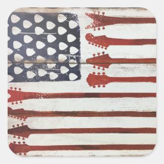 Pegatina Cuadrada Tema patriótico de la música de la guitarra de la