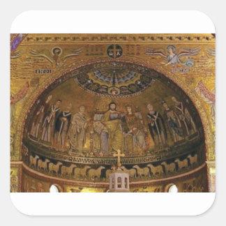 Pegatina Cuadrada Templo del arco de la bóveda de la iglesia