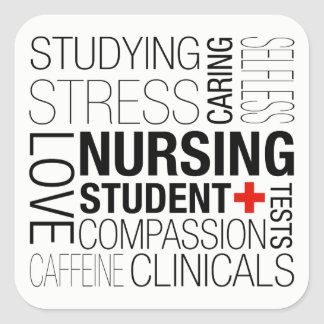 Pegatina Cuadrada Texto de estudiante del oficio de enfermera