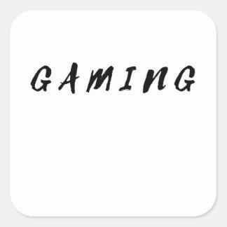 Pegatina Cuadrada Texto limpio simple del negro del juego del