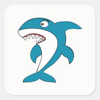 Pegatina Cuadrada Tiburón