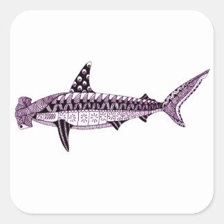 Pegatina Cuadrada Tiburón de Hammerhead