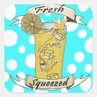 Pegatina Cuadrada Tiburones exprimidos frescos de la limonada