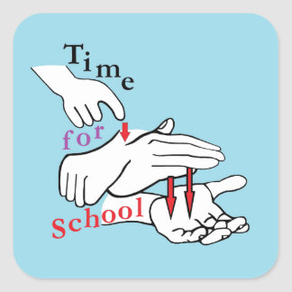 Pegatina Cuadrada Tiempo del ASL para la escuela