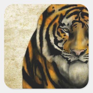 Pegatina Cuadrada Tigre