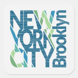 Pegatina Cuadrada Tipografía de Brooklyn Nueva York