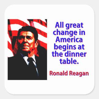 Pegatina Cuadrada Todo el gran cambio en América - Ronald Reagan