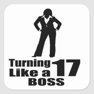 Pegatina Cuadrada Torneado de 17 como Boss