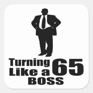 Pegatina Cuadrada Torneado de 65 como Boss