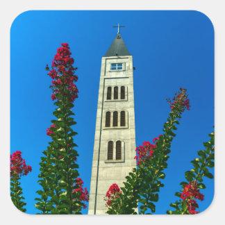 Pegatina Cuadrada Torre de Lucas del santo en Mostar, Bosnia y