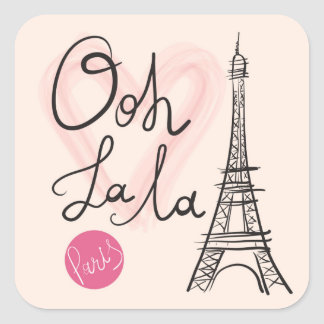 Pegatina Cuadrada Torre Eiffel dibujada mano