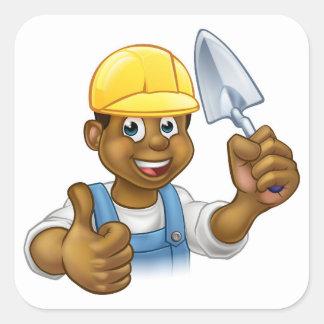 Pegatina Cuadrada Trabajador negro del albañil del constructor con